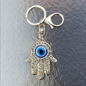 Evil eye Hamsa keychain with bling & lobster clasp